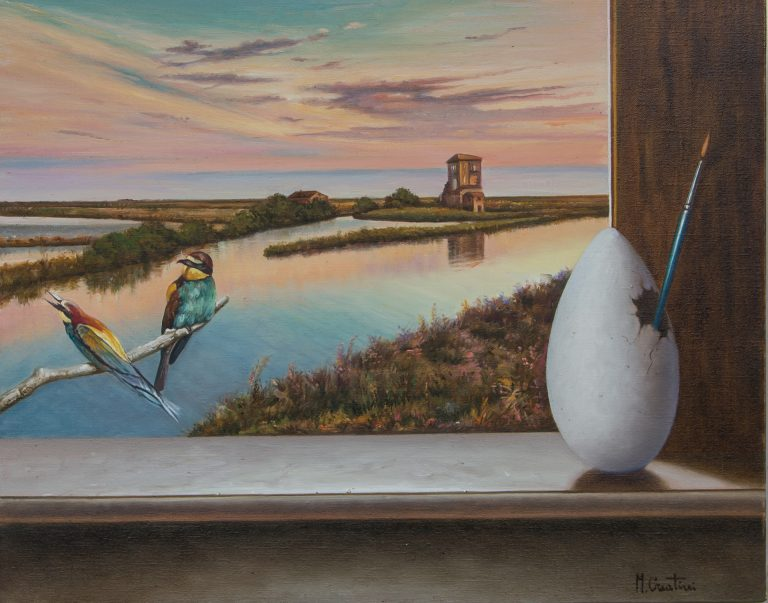 Il sito d'arte personale di Marco Creatini - Alba a Comacchio - olio su tela - 50x40cm