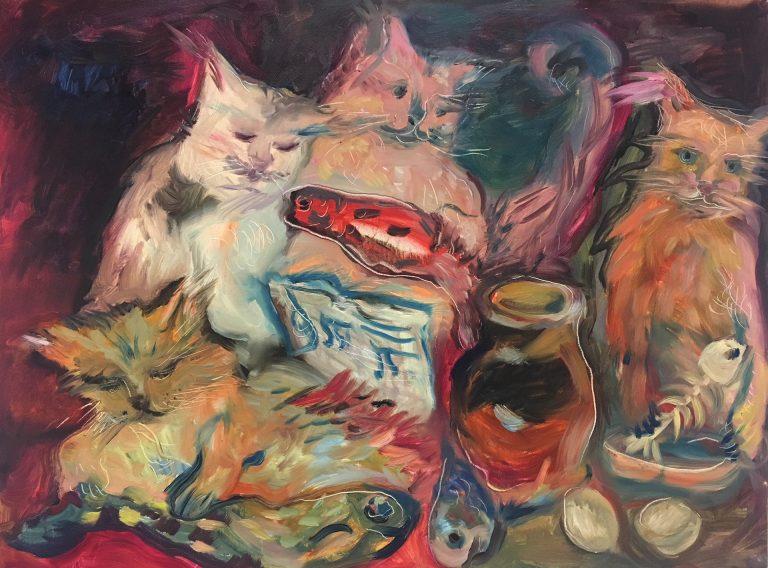 Sito dell'artista Daniela Danova - Concerto di gatti, uova e pesci - Olio su tela - 60x80cm